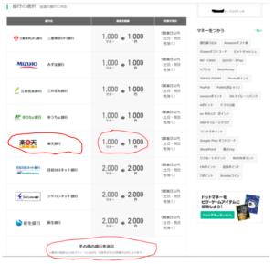ドットマネーのポイント交換できる銀行口座一覧