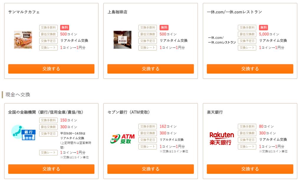 ポイントサイトお財布.comのポイント交換先一覧