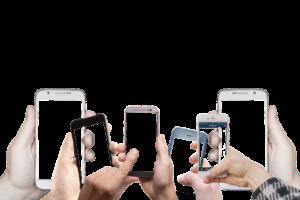 複数のお友達がスマートフォンを操作している