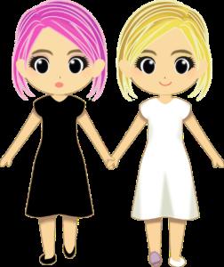 手をつないだ二人の女の子のイラスト