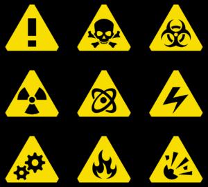 9枚の危険性がある物の表示板