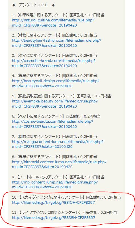ポイントサイトライフメディアの広告付きアンケートの10~11番目に赤丸がしてあるスクリーンショット