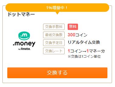 ポイントサイトお財布.comのポイント交換先のドットマネーへの交換説明