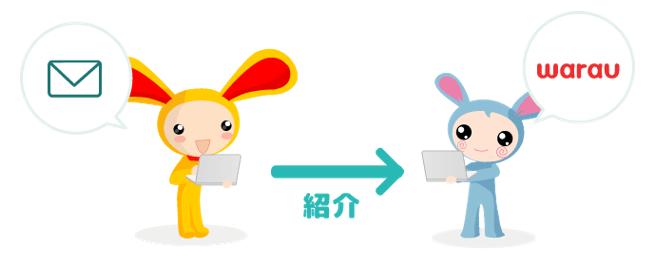 ポイントサイトワラウのキャラクターのウサギがお友達のウサギにパソコンで紹介メールを送信しているイラスト