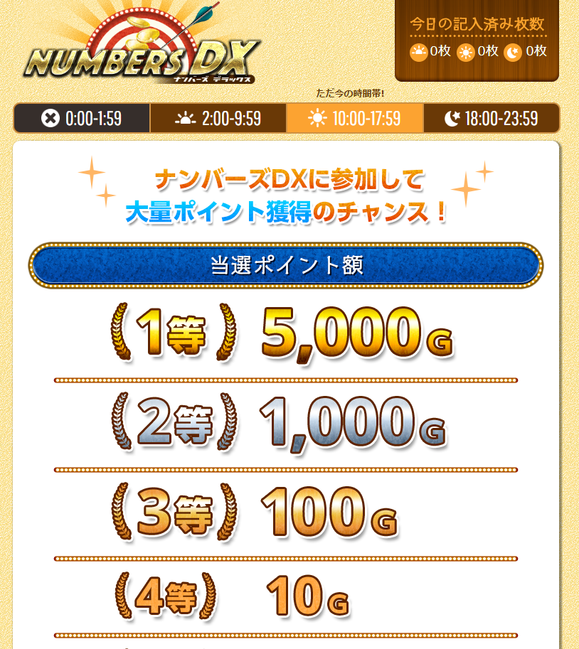 ミニゲームナンバーズDXのトップページ