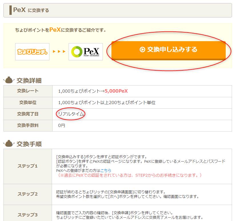 ちょびリッチのPeXへの交換申請画面